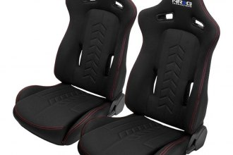 NRG Innovations® - The Arrow Series Sport Seats, Black Fabric with Red Stitching Logo