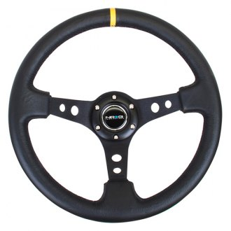 NRG Innovations® - 3-Spoke Reinforced Steering Wheel with Center Mark