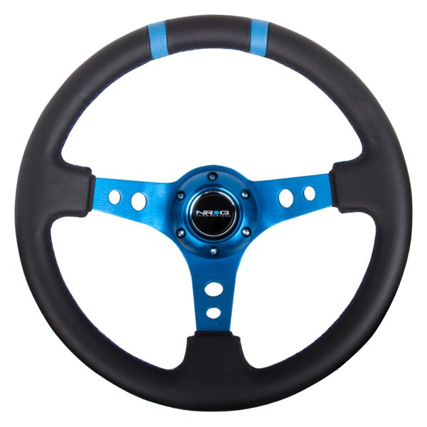 NRG Innovations® - 3-Spoke Leather Sport Leather Steering Wheel