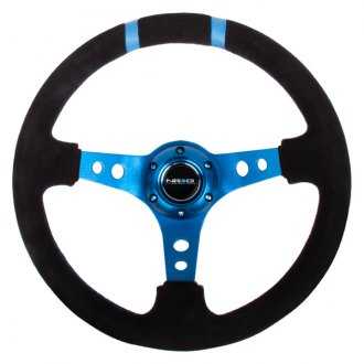 NRG Innovations® - 3-Spoke Suede Sport Steering Wheel with Double Center Marking
