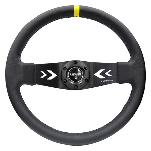 NRG Innovations® - 2-Spoke Reinforced Steering Wheel witn NRG Arrow Cut Out and Leather Grip