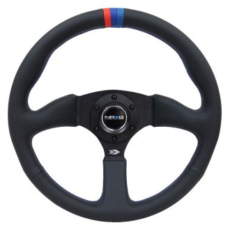 NRG Innovations® - 3-Spoke Leather Reinforced Steering Wheel with M3 Stitching and Line