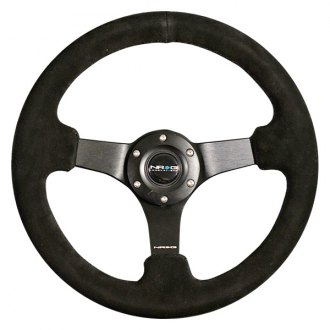 NRG Innovations® - 3-Spoke Suede Reinforced Steering Wheel with Black Matte Spokes and Criss Cross Stitching