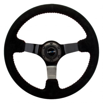 NRG Innovations® - 3-Spoke Race Style Steering Wheel with Red Baseball Stitching