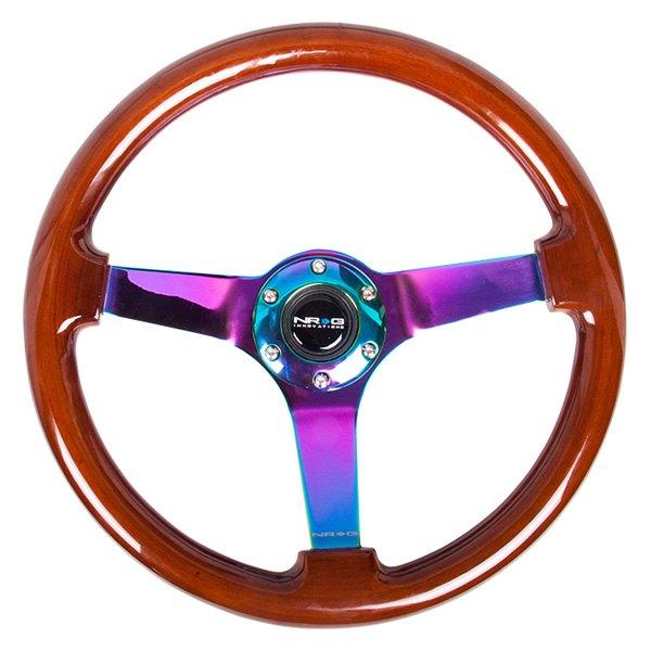 NRG Innovations® - 3-Spoke Classic Wood Grain Reinforced Steering Wheel