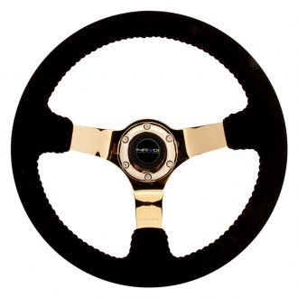 NRG Innovations® - 3-Spoke Race Style Steering Wheel with Baseball Stitching