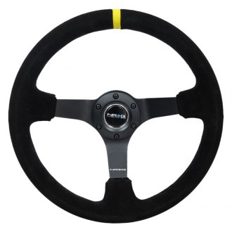 "NRG Innovations® - 3-Spoke ""ODI"" Aurimas Bakchis Inspired Steering Wheel with Yellow Center Mark"
