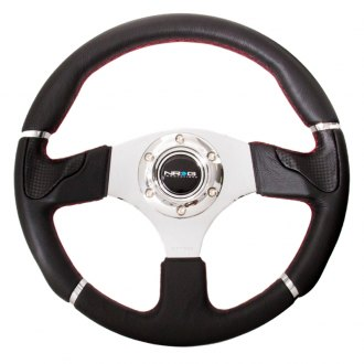 NRG® - 3-Spoke Sport Leather Steering Wheel with Trim