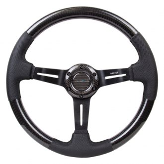 NRG® - 3-Spoke Carbon Fiber Steering Wheel with Leather Accent