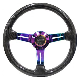 NRG Innovations® - 3-Spoke Carbon Fiber Steering Wheel with Neochrome Center Spoke