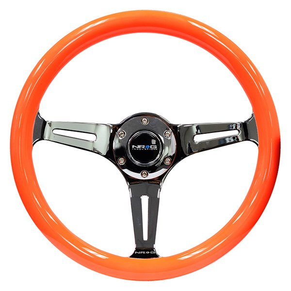 NRG Innovations® - 3-Spoke Neon Series Classic Orange Wood Grain Steering Wheel with Black Chrome Center Spoke