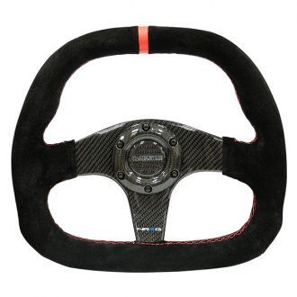 NRG Innovations® - 3-Spoke D-Shape Carbon Fiber Steering Wheel with Red Center Mark