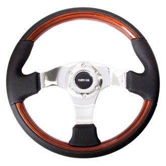 NRG Innovations® - 3-Spoke Classic Wood Grain Steering Wheel with Wood Accents