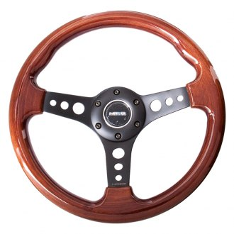 NRG® - 3-Spoke Classic Wood Grain Steering Wheel with Black Spokes