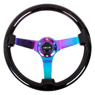 NRG Innovations® - 3-Spoke Classic Black Wood Grain Steering Wheel