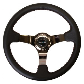 NRG Innovations® - 3-Spoke Sport Steering Wheel with Red Baseball Stitch