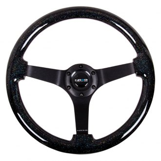NRG® - 3-Spoke Black Sparkled Wood Grain Steering Wheel