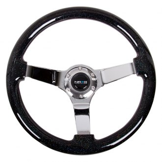 NRG Innovations® - 3-Spoke Black Sparkled Wood Grain Steering Wheel
