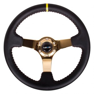NRG Innovations® -  350mm Sport Steering Wheel with Yellow Center Marking