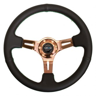 NRG Innovations® - 3-Spoke Black Leather Steering Wheel