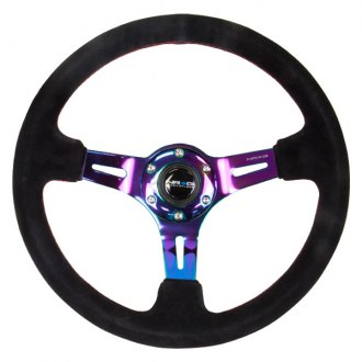 NRG Innovations® - Reinforced Black Suede Steering Wheel with Red Stitch