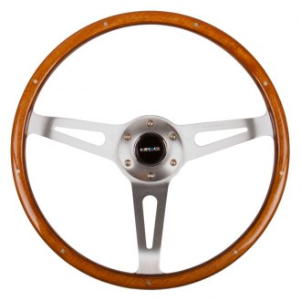NRG® - 3-Spoke Polished Aluminum Design Classic Wood Grain Steering Wheel with Metal Inserts