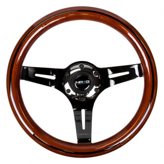 NRG® - 3-Spoke Slotted Design Classic Dark Wood Grain Steering Wheel