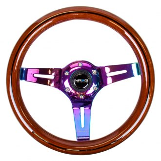 NRG Innovations® - 3-Spoke Slotted Classic Dark Wood Grain Steering Wheel
