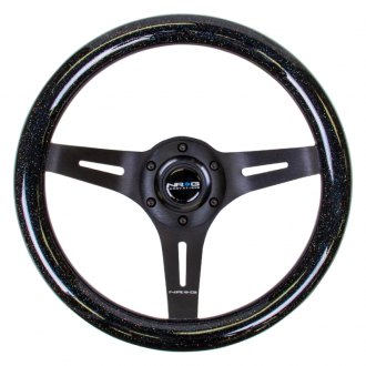 NRG® - 3-Spoke Slotted Design Black Sparkled Wood Grain Steering Wheel