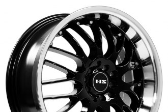 "NS SERIES® - NS9003 Black with Machined Lip (17"" x 7.5"", +38 Offset, 4x100 Bolt Pattern, 73.1mm Hub)"