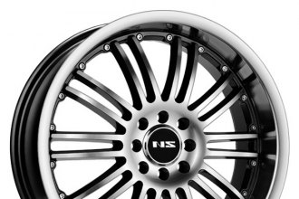 "NS SERIES® - NS9004 Black with Machined Face and Lip (15"" x 7"", +38 Offset, 4x100 Bolt Pattern, 73.1mm Hub)"