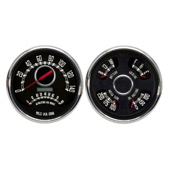 "NVU® - Woodward Series™ 4-3/8"" In-Dash Black Analog Gauge Kit (2 Gauges)"