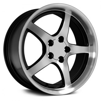 "OE Wheels® - 18"" Replica 5 Spokes Black with Machined Face Factory Alloy Wheel"