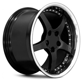 "OE Wheels® - 18"" Replica 5 Spokes Black with Stainless Lip and Rivets Factory Alloy Wheel"