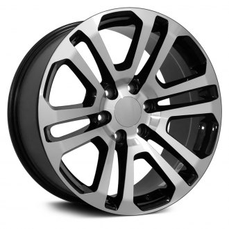 "OE Wheels® - 22"" Replica 6 V Spokes Black with Machined Face Factory Alloy Wheel"