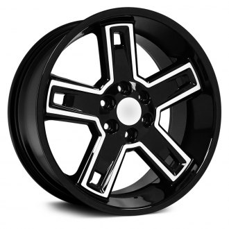 "OE Wheels® - 22"" Replica 5 Spokes Black with Machined Face Factory Alloy Wheel"