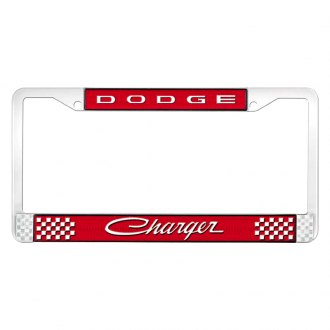 OER® - Red / Chrome License Plate Frame with White Dodge Charger Logo