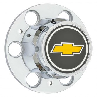 OER® - Chrome Wheel Center Hub Caps With a Yellow Bow Tie Logo