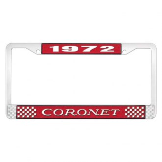 OER® - Red / Chrome License Plate Frame with White 1972 Coronet Logo