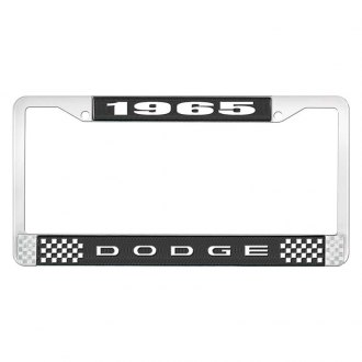 OER® - Black / Chrome License Plate Frame with White 1965 Dodge Logo