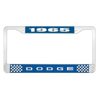 OER® - Blue / Chrome License Plate Frame with White 1965 Dodge Logo