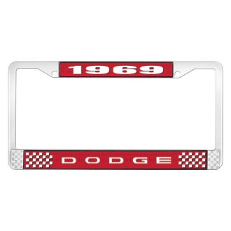 OER® - Red / Chrome License Plate Frame with White 1969 Dodge Logo