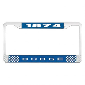 OER® - Blue / Chrome License Plate Frame with White 1974 Dodge Logo