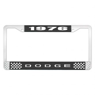OER® - Black / Chrome License Plate Frame with White 1976 Dodge Logo