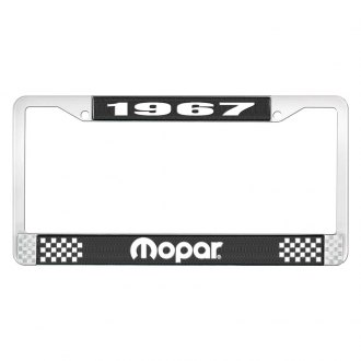 OER® - Black / Chrome License Plate Frame with White 1967 Mopar Logo