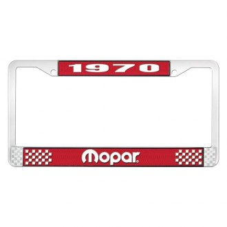 OER® - Red / Chrome License Plate Frame with White 1970 Mopar Logo