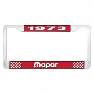 OER® - Red / Chrome License Plate Frame with White 1973 Mopar Logo