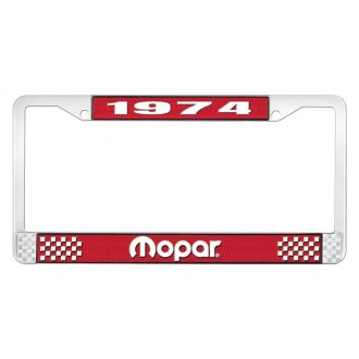 OER® - Red / Chrome License Plate Frame with White 1974 Mopar Logo