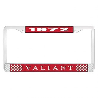 OER® - Red / Chrome License Plate Frame with White 1972 Valiant Logo