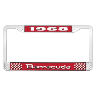 OER® - Red / Chrome License Plate Frame with White 1968 Barracuda Logo
